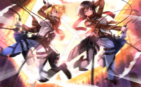 konachan-com-160938-2girls-annie_leonhardt-black_hair-blonde_hair-blue_eyes-mikasa_ackerman-scarf-shingeki_no_kyojin-short_hair-sword-swordsouls-weapon